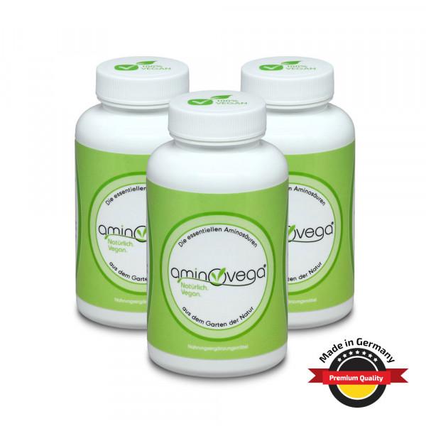 3er Set aminovega® - 3x 120 Tabs á 1 g - 8 essentielle Aminosäuren, amino eaa