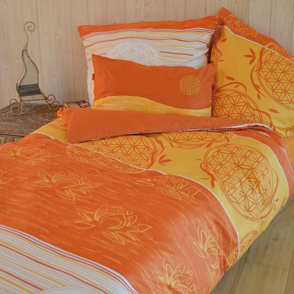 """Bettbezug und Kissen - Design """"Blume des Lebens"""", Farbe: zimt-mango"""